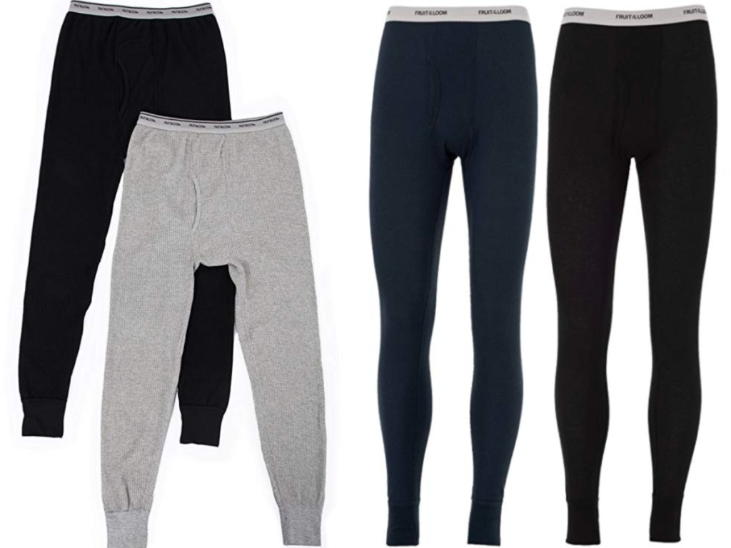 black, grey and blue fruit of the loom long underwear