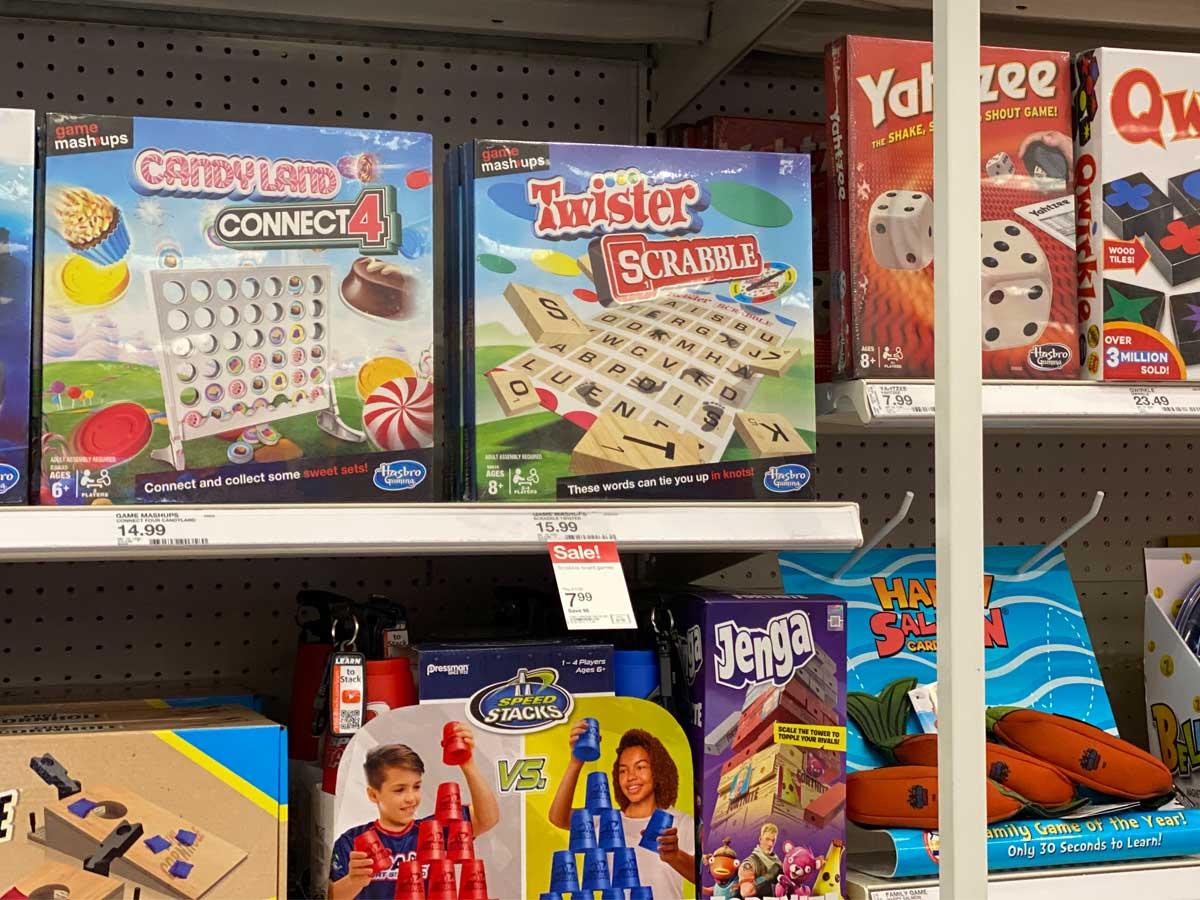 board games on a shelf in a store