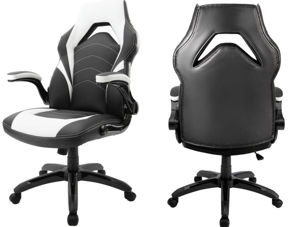 side and back view of white and black gaming chair