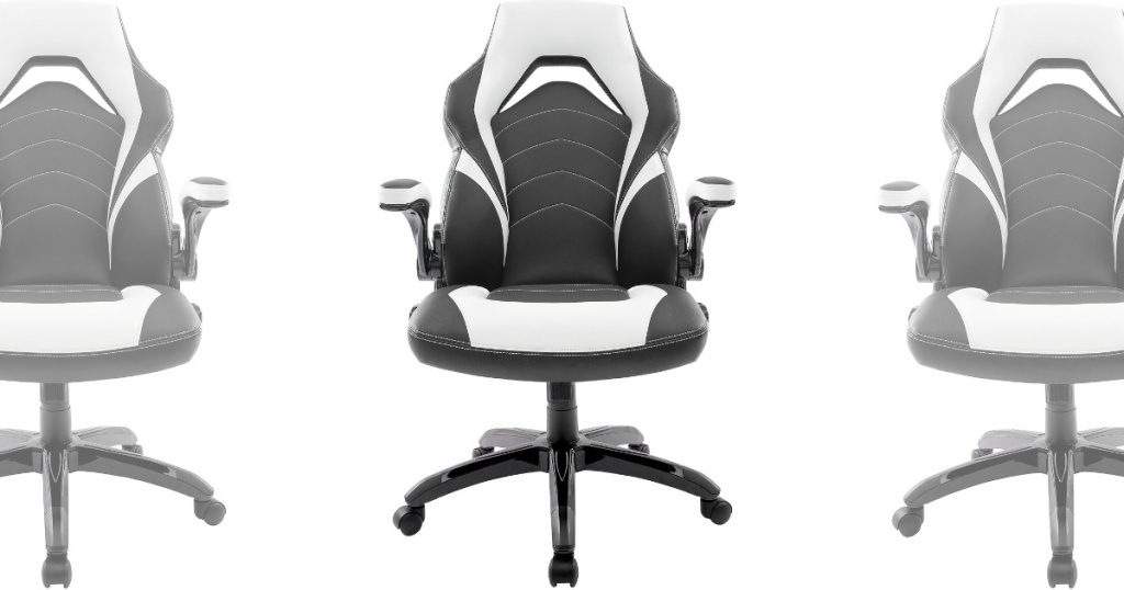 front view of white and black gaming chair