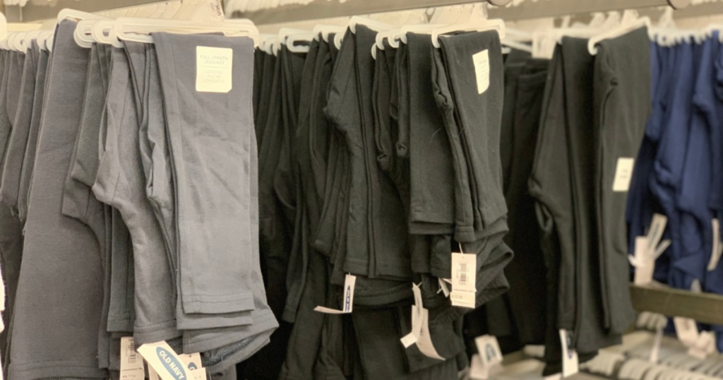 old navy girls leggings hanging in store