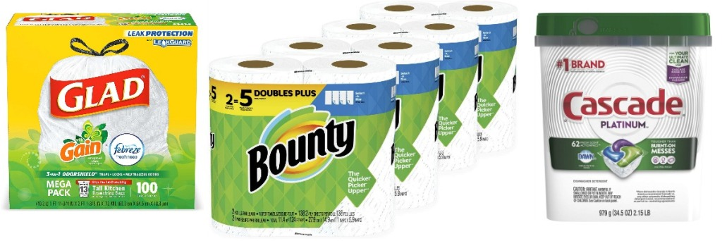 glad trash bags, cascade pacs and bounty paper towels