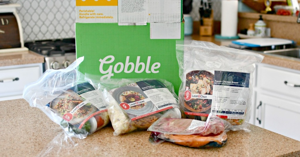 gobble meals next to box in kitchen
