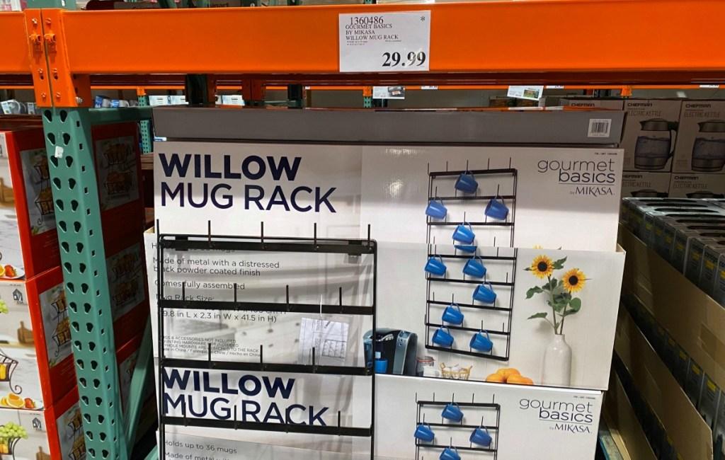 mug racks on display at a Costco
