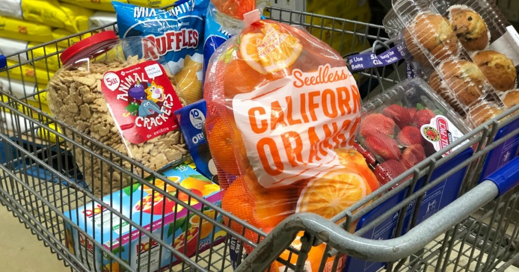 cart full of snack foods in store