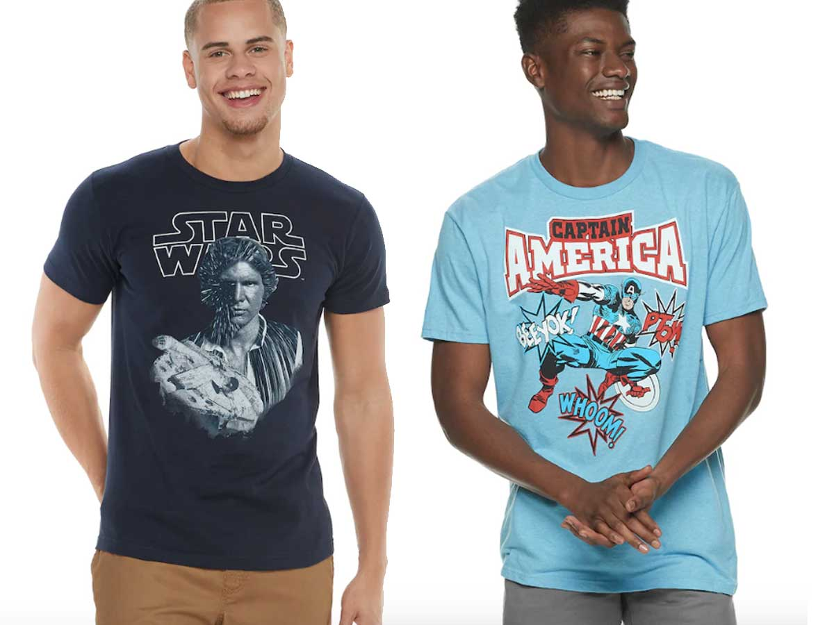 mens' graphic tshirts being worn by two male models