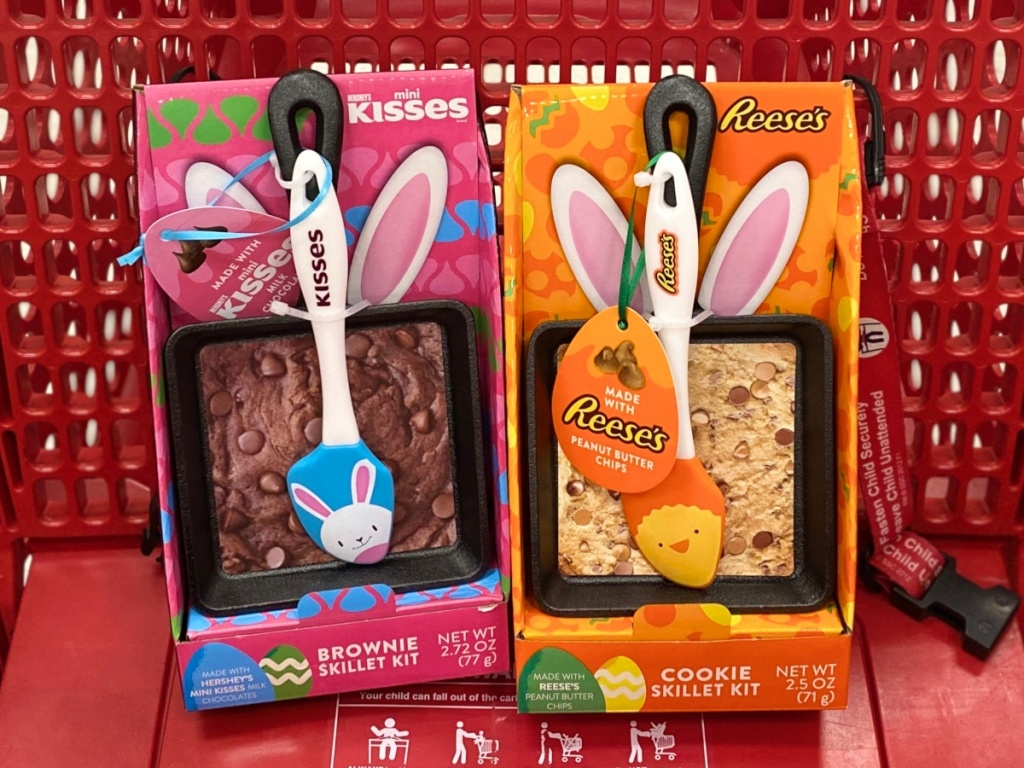 two Hershey's Easter skillet sets in a Target shopping cart