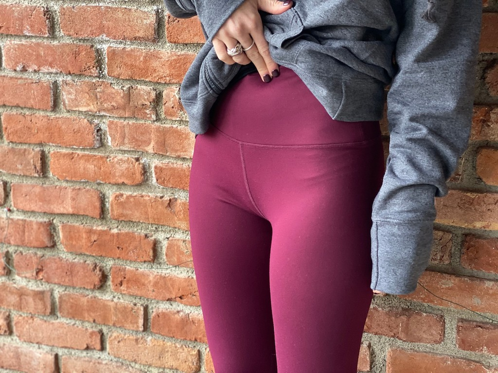 woman wearing high waisted leggings