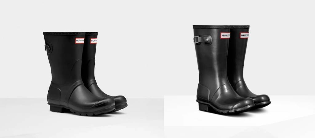 side by side of stock photos of hunter boots