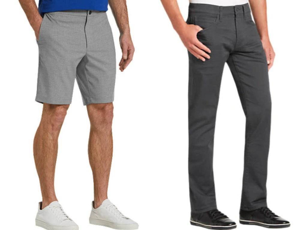 men wearing gray shorts and gray pants