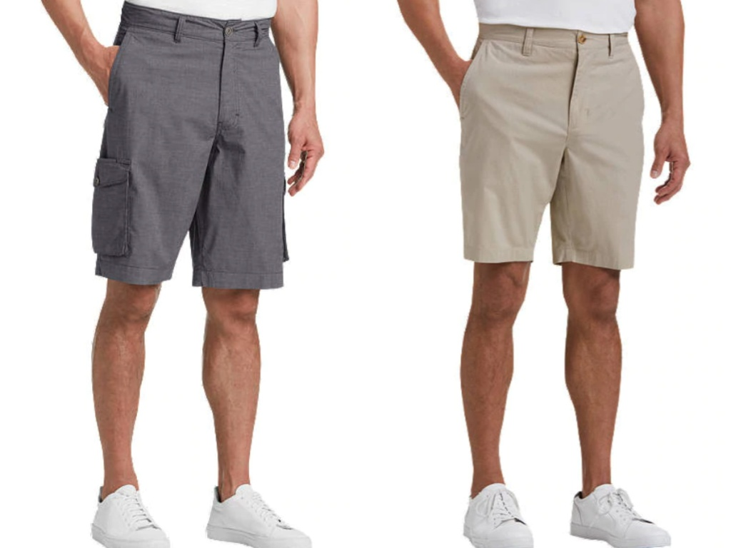 men wearing gray shorts and tan shorts with white shoes