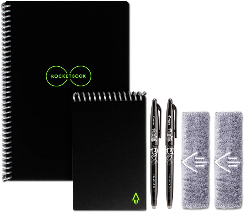 Two notebooks and pens in black, and two microfiber cloths