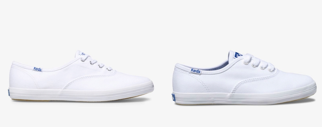 side by side stock photos of white keds sneakers