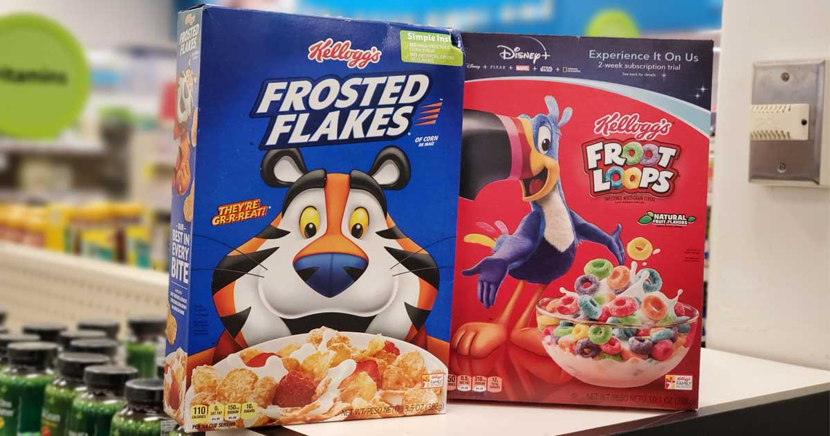 kelloggs cereal boxes on display in a store