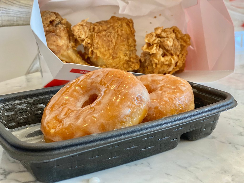 glazed donuts with KFC fried chicken