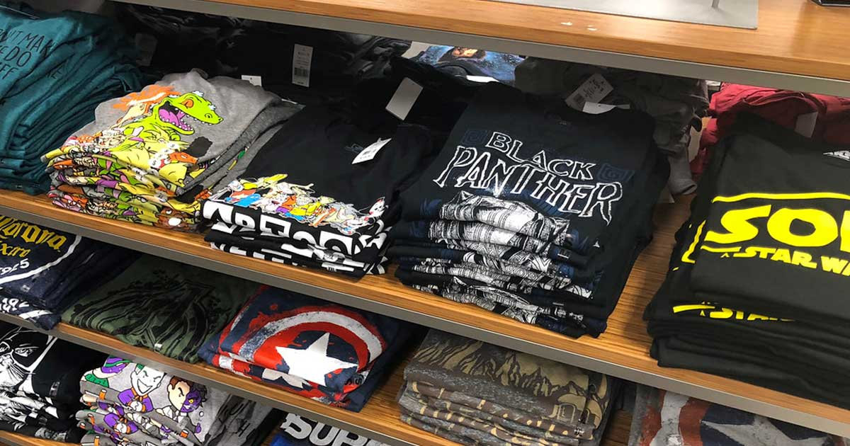 men's graphic tshirts on display in store