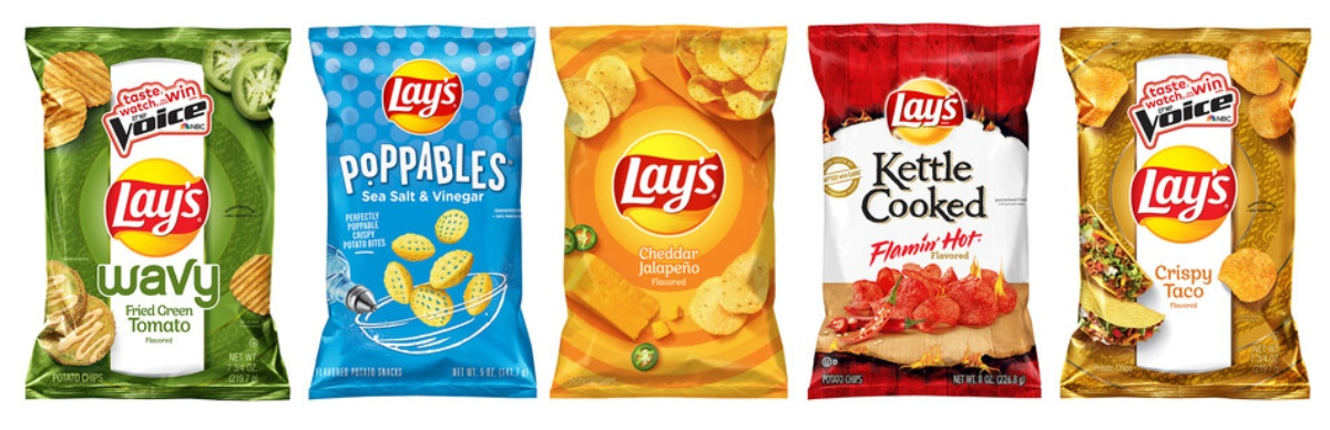 5 bags of Lays potato chips