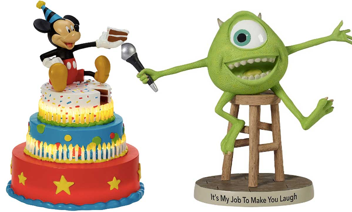 mickey mouse and monster's inc figurines
