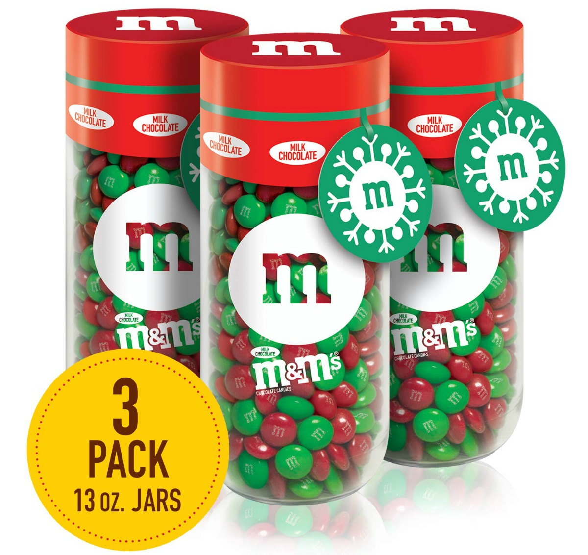 m&m's red and green candy jars