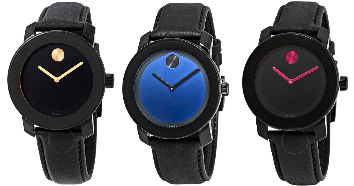 three black watches with colored faces and dials