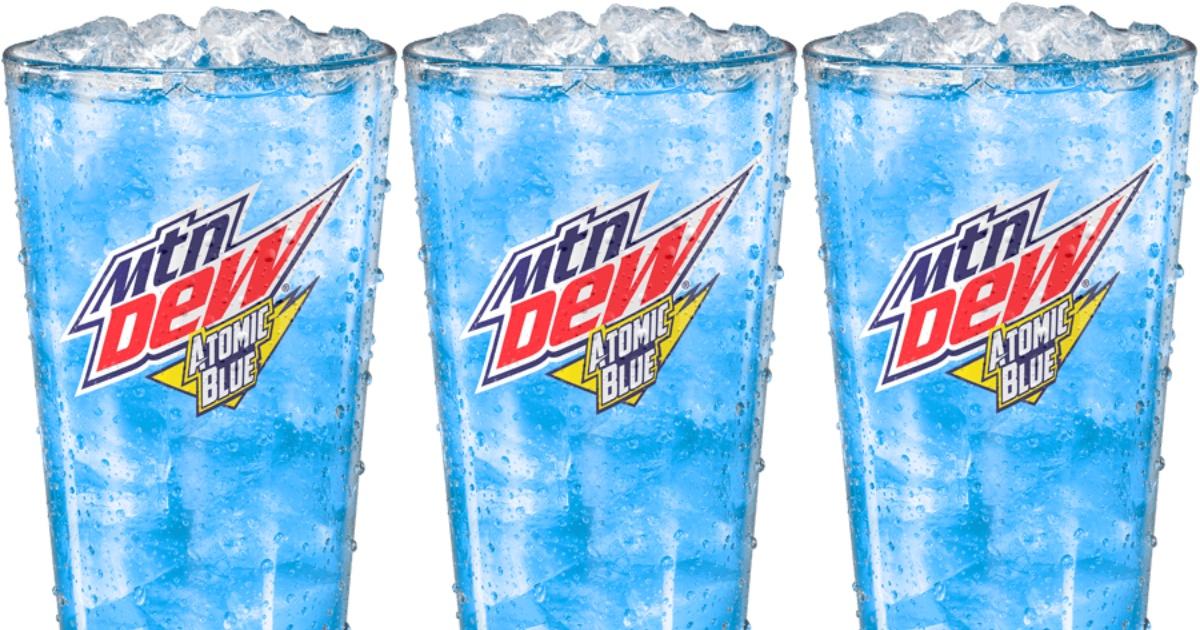 3 glasses holding Mountain Dew Atomic Blue soda