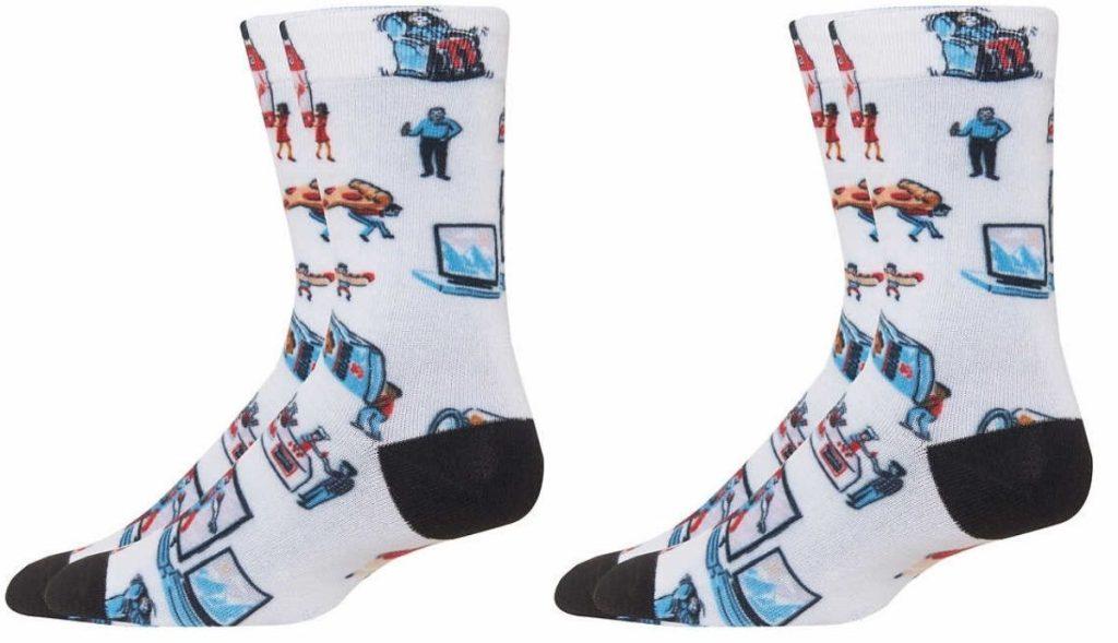feet wearing costco themed socks