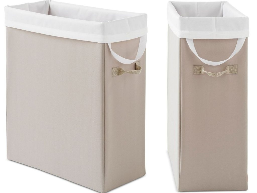 side and front angle view of cloth hamper with handle