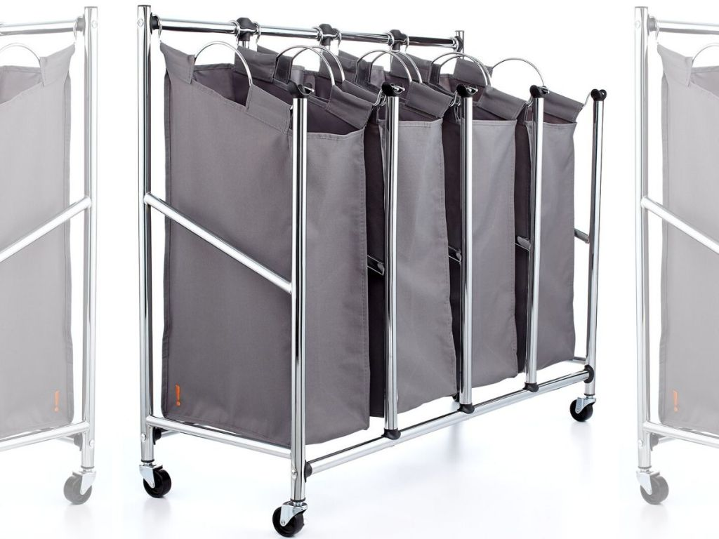 quad style laundry sorter with fabric hanging bags in metal frame