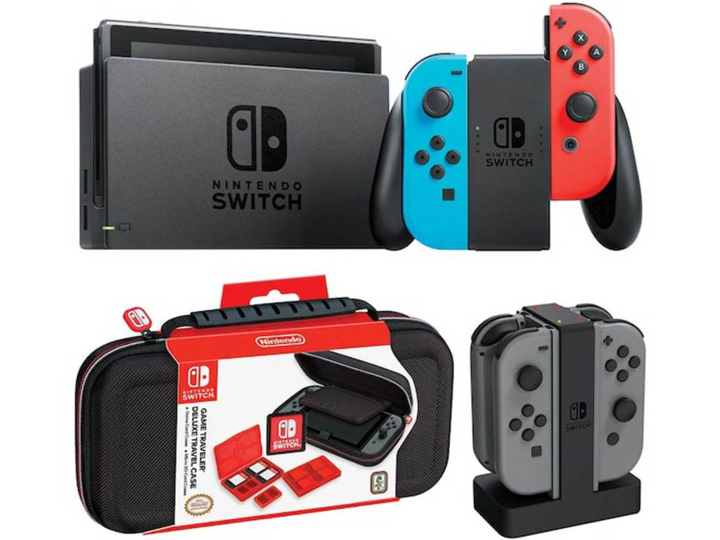 stock image Nintendo Switch Gaming Console Bundle with Carrying Case & Controller Charging Dock