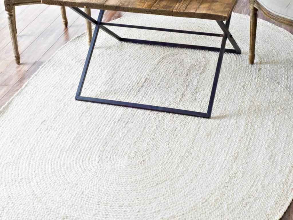 nuLOOM Rigo Chunky Loop Jute Off-White 2ft x 4ft Oval Rug