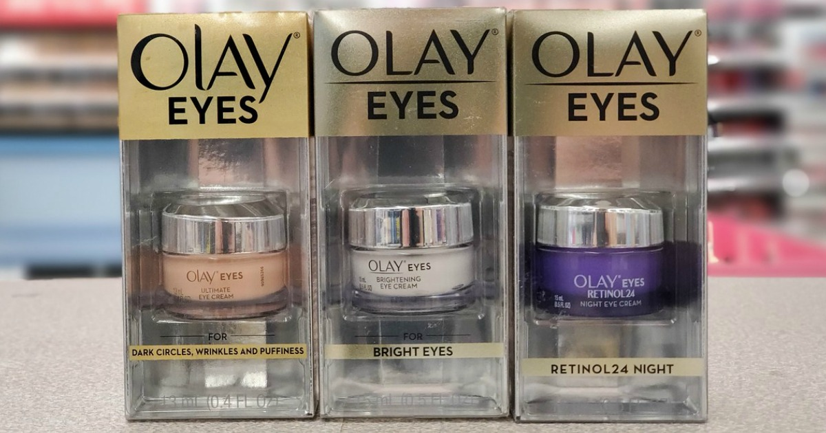 Olay branded eye cream on counter in store