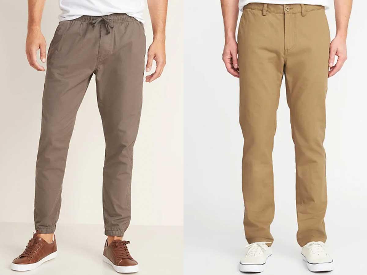 male models wearing men's pants in khaki colors