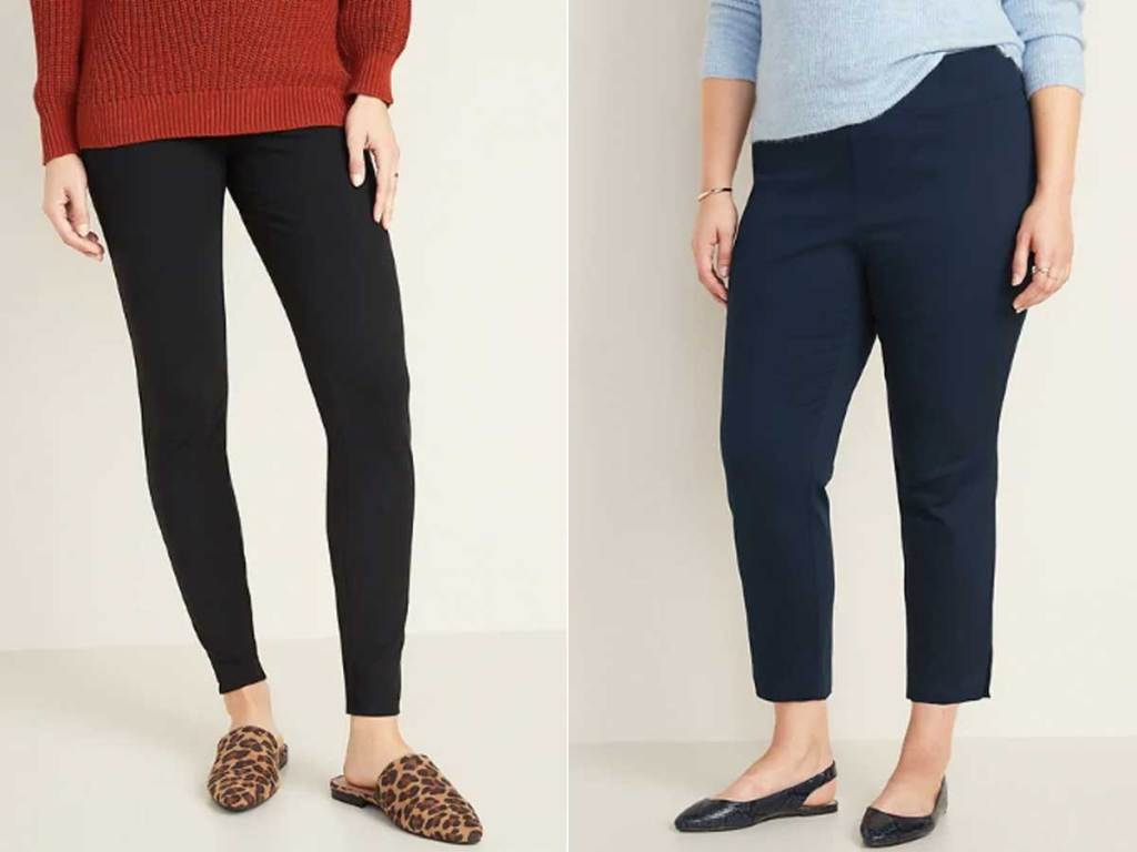 women models wearing pants in a store