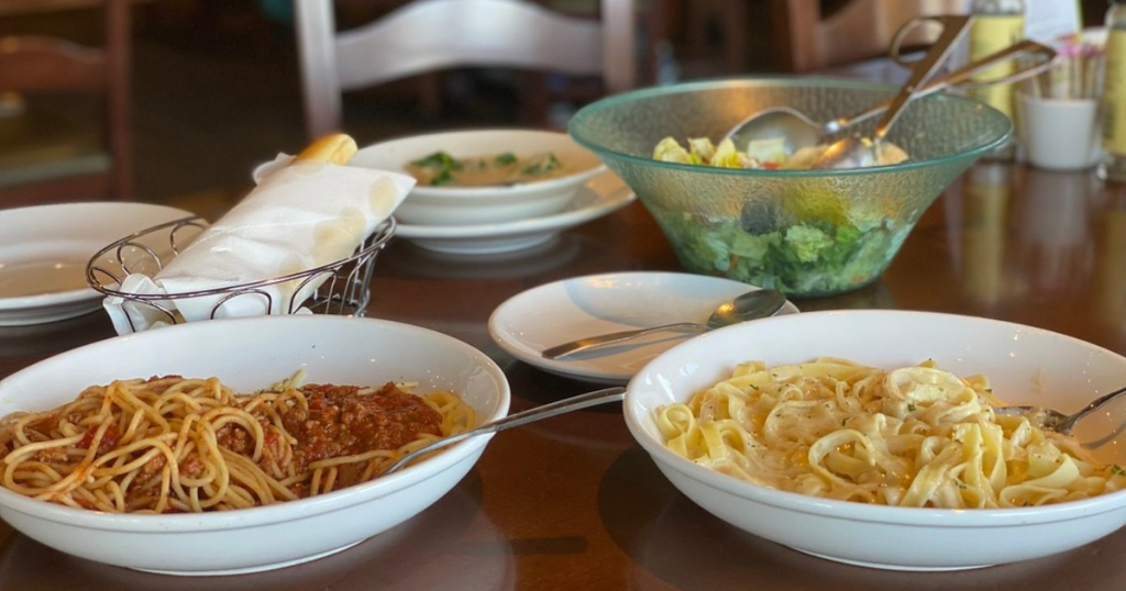 olive garden meals on table