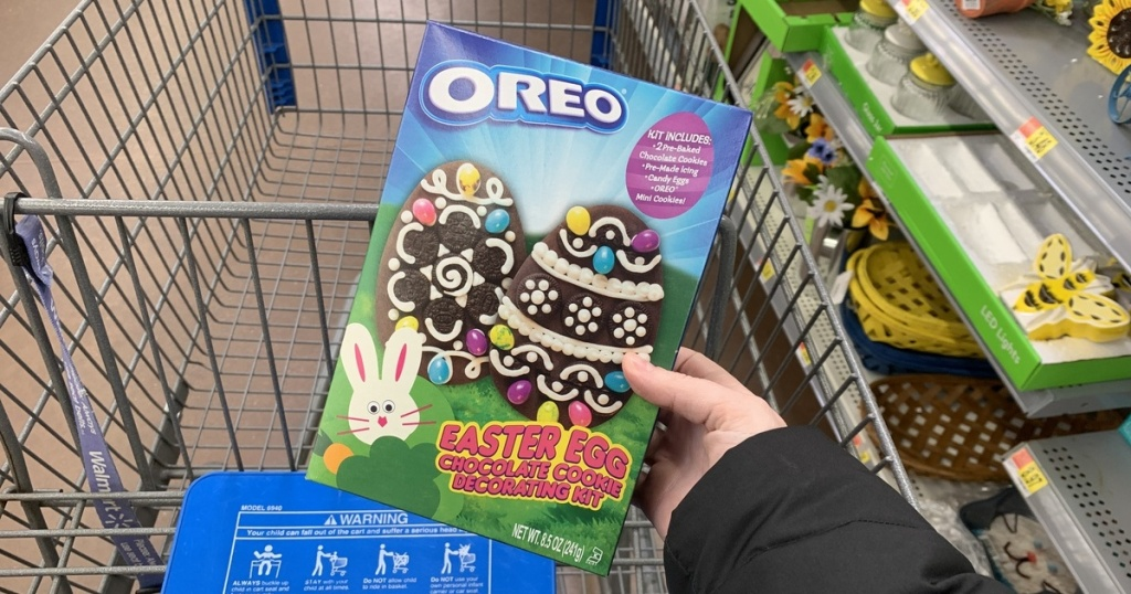 hand holding OREO Easter egg decorating kit at Walmart