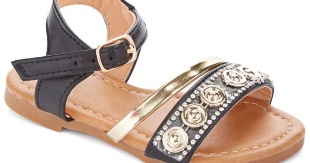 little girls right foot embellished sandal