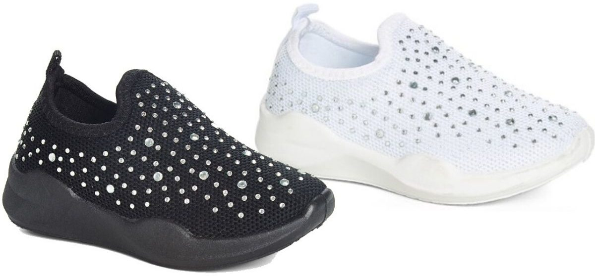 two right foot side view of embellished sock sneakers