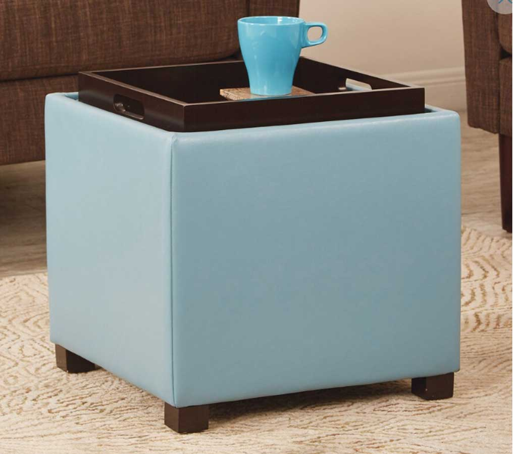 Carter Square Storage Ottomanshown with tray side up