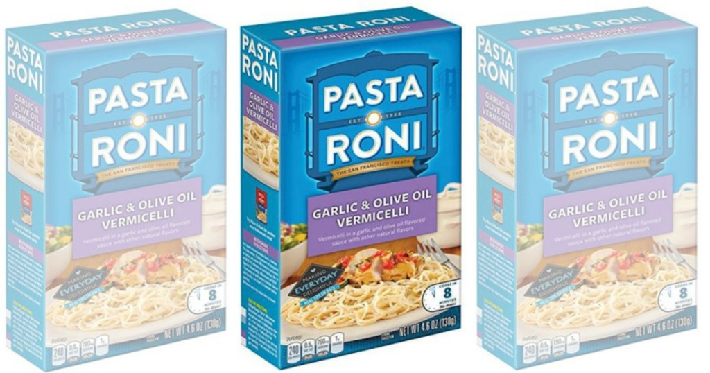 three boxes of pasta-roni garlic and olive oil