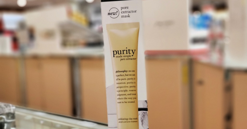 box of philosophy purity pore extractor mask on counter