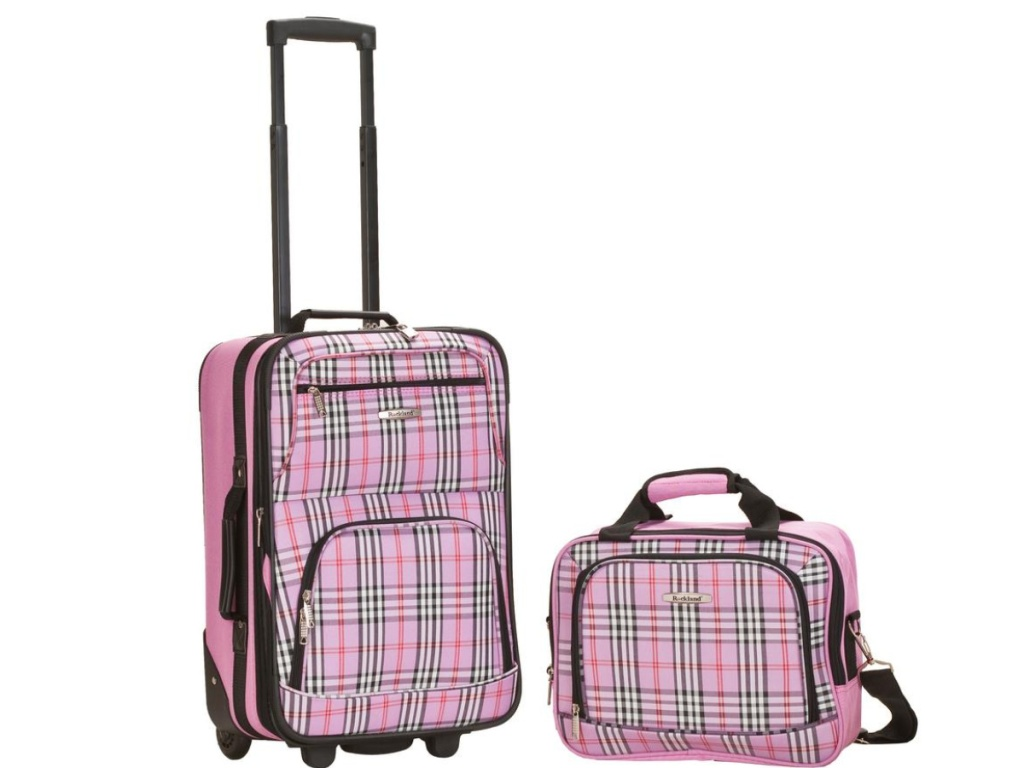 plaid pink luggage with wheels and bag