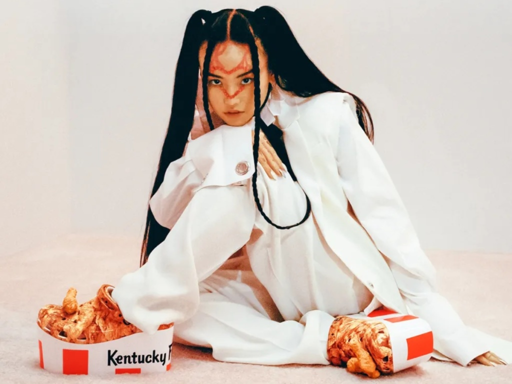 woman modeling KFC platform clogs
