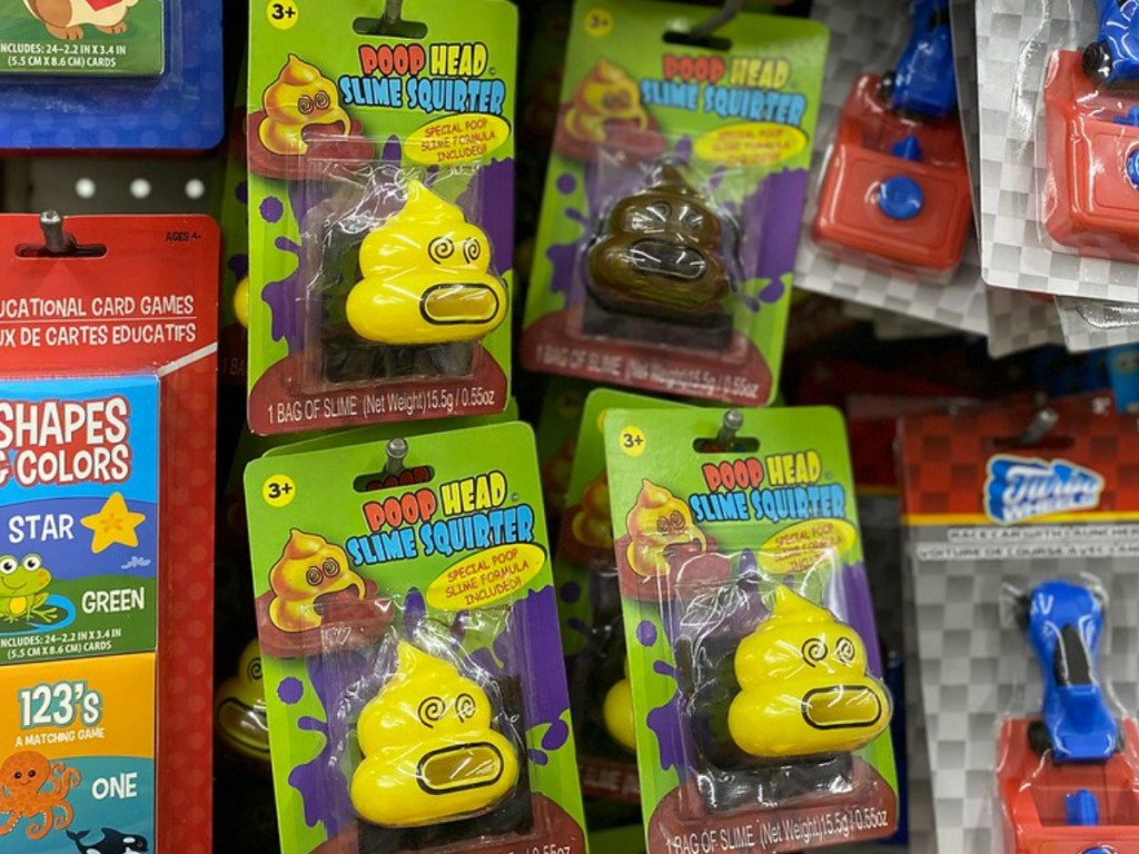 store display with yellow and brown slime squirters