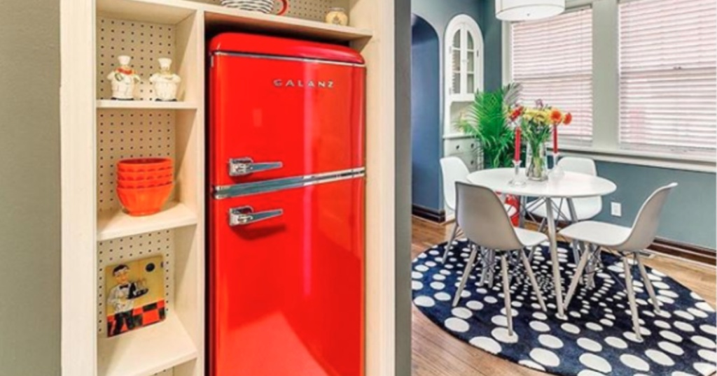 Galanz red retro refrigerator in sunken wall with shelves and kitchen table in background