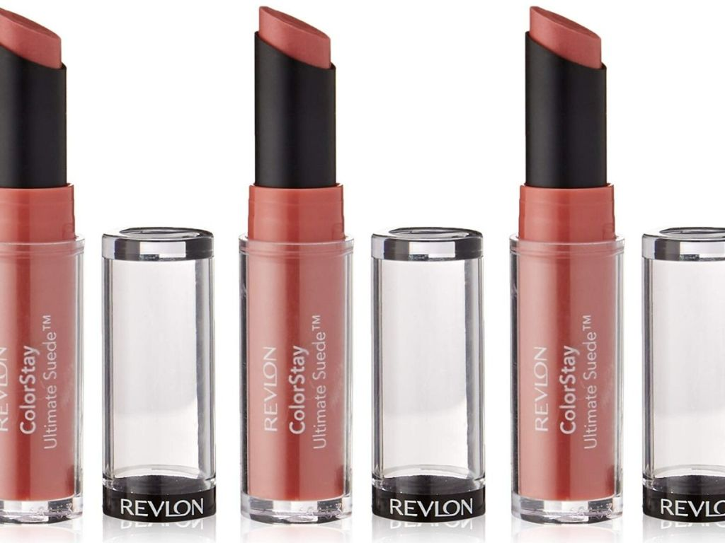 three twist up lipsticks with the cap off and set next to them