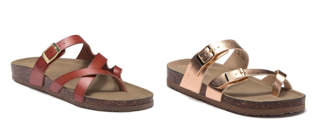 side by side stock photos of leather sandals
