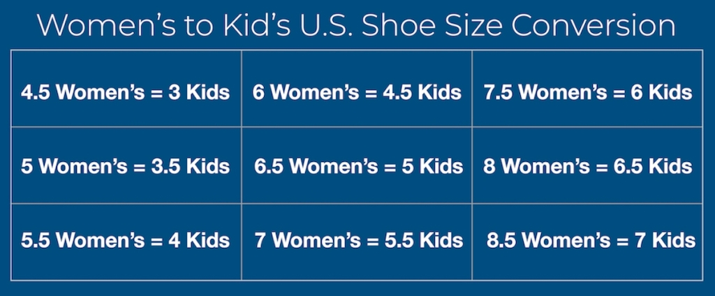 kids to adult shoe size conversion chart for women's shoes