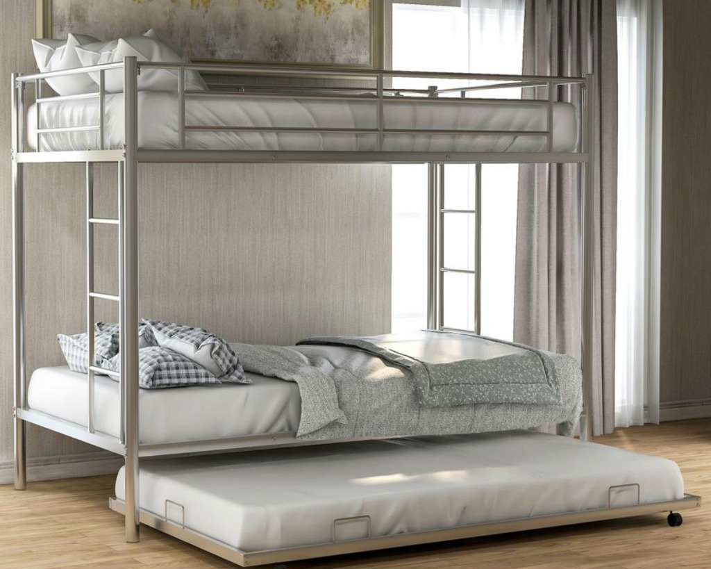 silver bunk bed with trundle