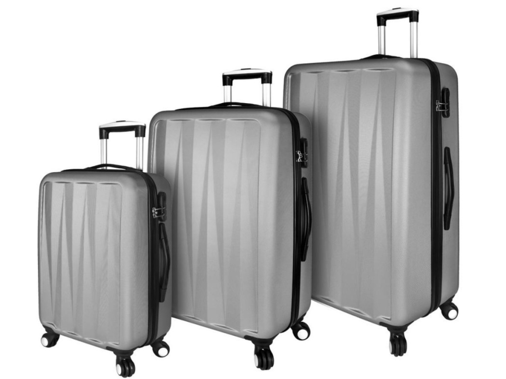 three sliver luggage with spinner wheels