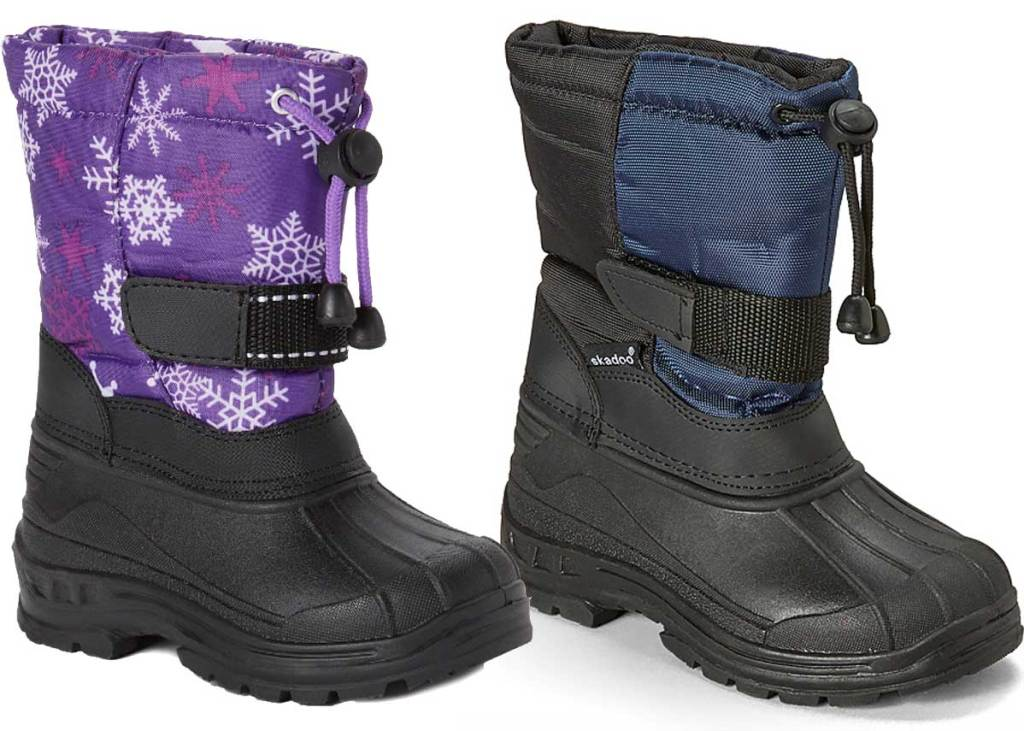 kids snow boots one purple and one blue